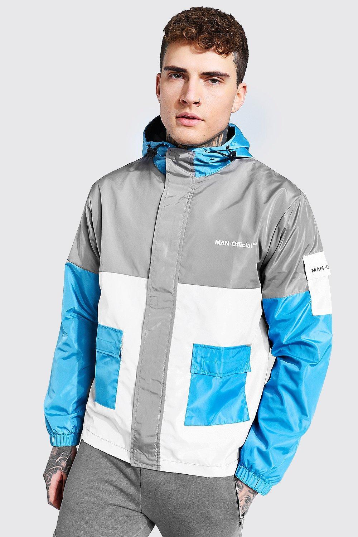 80s Windbreakers, Jackets, Coats Mens Colour Block Man Branded Front Pocket Cagoule - Grey $24.00 AT vintagedancer.com