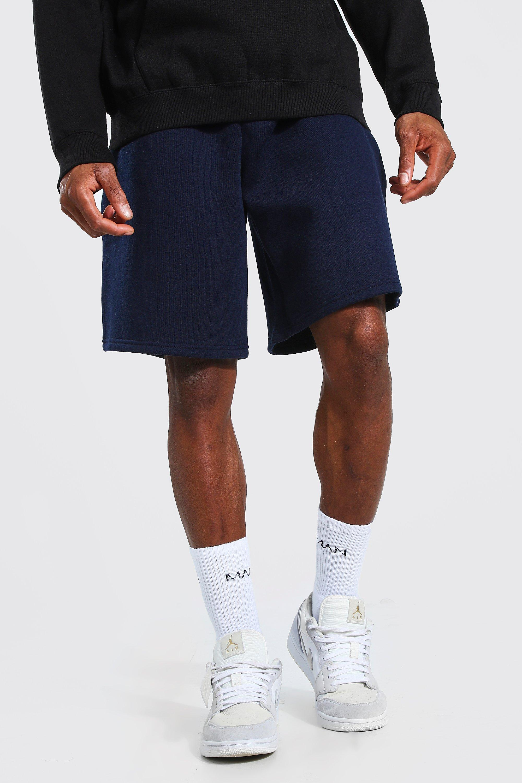 mens basic mid length loose jersey shorts - navy