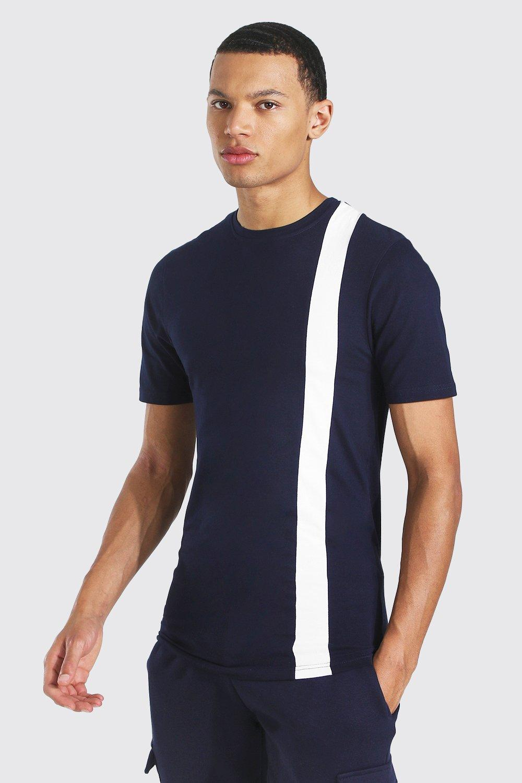 1960s Mens Shirts   60s Mod Shirts, Hippie Shirts Mens Tall Colour Block Muscle Fit T-shirt - Navy $5.00 AT vintagedancer.com