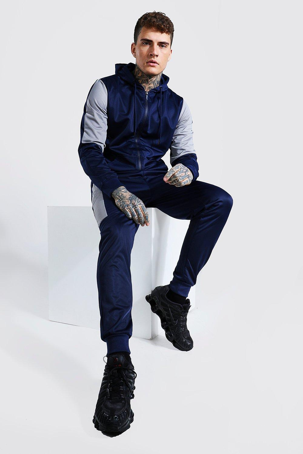 mens poly zip hooded tracksuit with contrast panel - navy