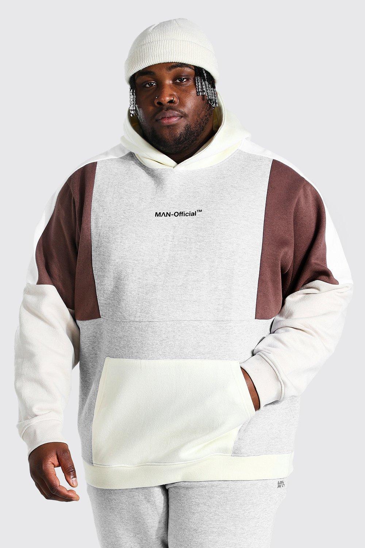 mens grey plus size man official colour block hoodie, grey