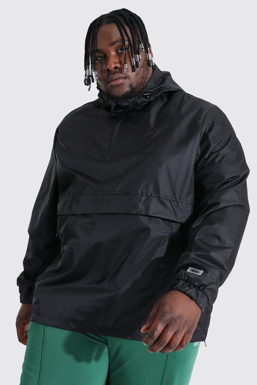 mens black plus size man smart packable overhead cagoule, black