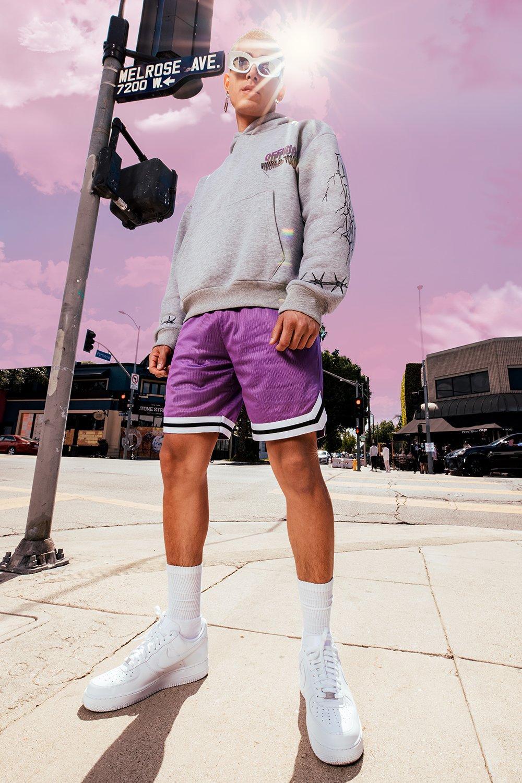 mens airtex basketball shorts with tape - purple