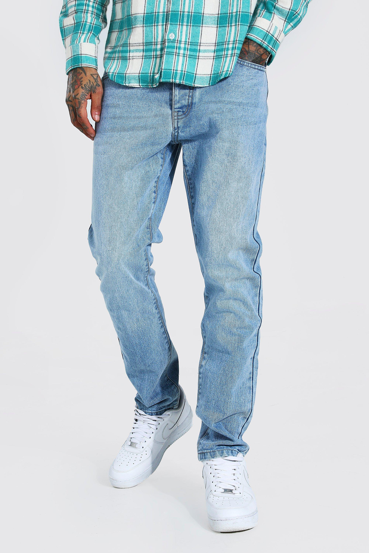 Men's Vintage Pants, Trousers, Jeans, Overalls Mens Slim Rigid Jeans - Blue $21.00 AT vintagedancer.com