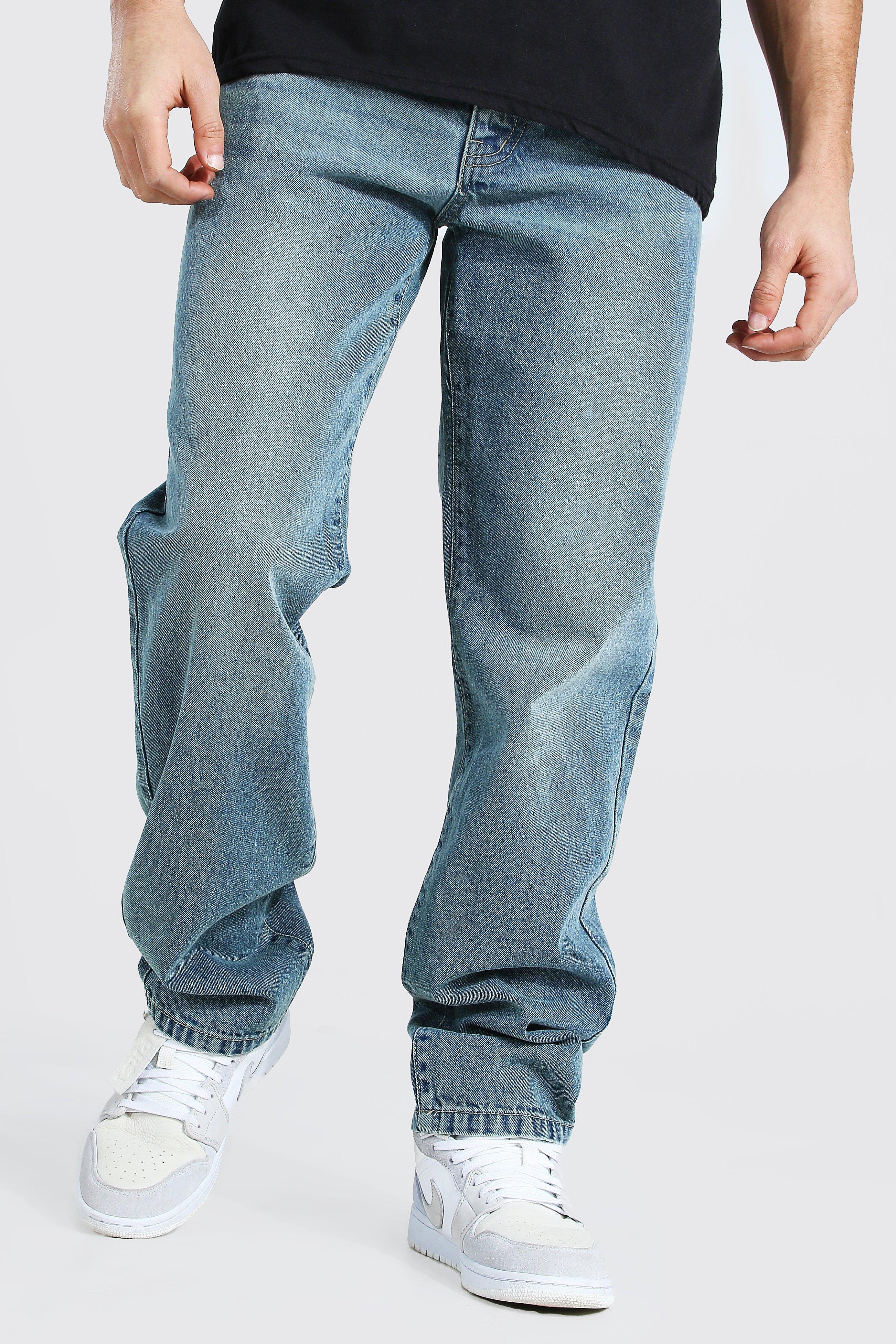 Men's Vintage Pants, Trousers, Jeans, Overalls Mens Relaxed Fit Rigid Jeans - Blue $24.00 AT vintagedancer.com