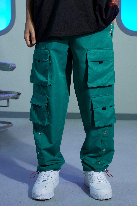 mens regular popper cargo pants - green
