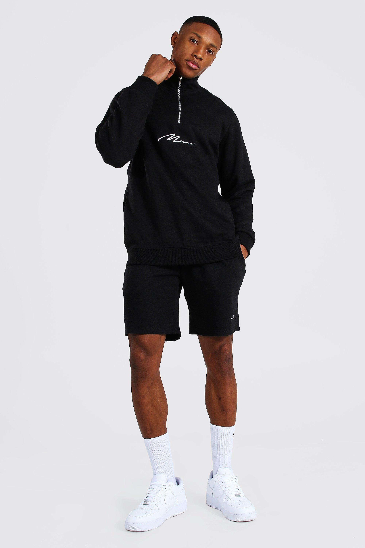 mens black man signature half zip short tracksuit, black