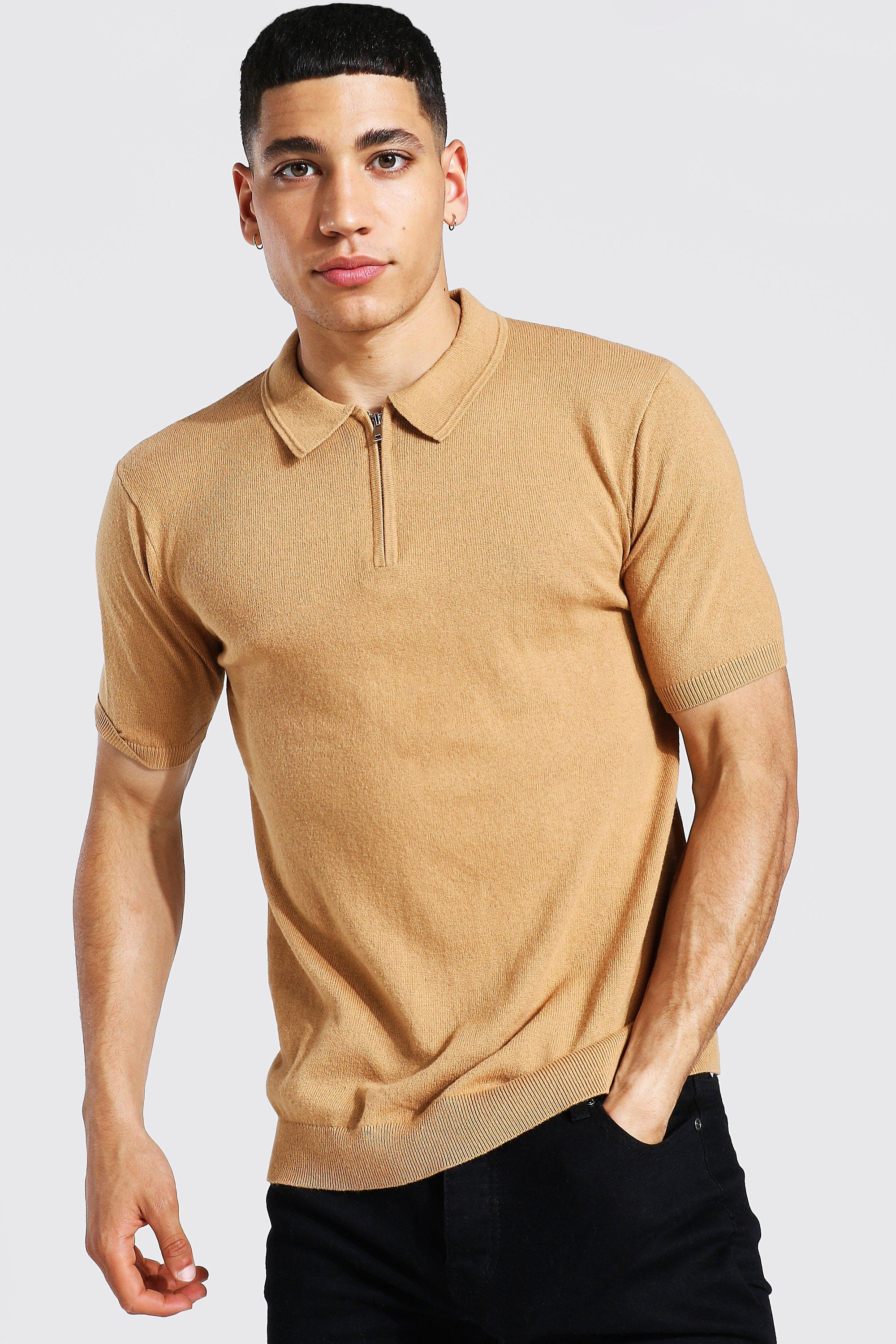 1970s Men's Clothes, Fashion, Outfits Mens Short Sleeve Half Zip Knitted Polo - Beige $8.40 AT vintagedancer.com