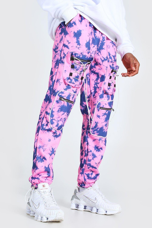 mens tie dye utility cargo jogger - pink