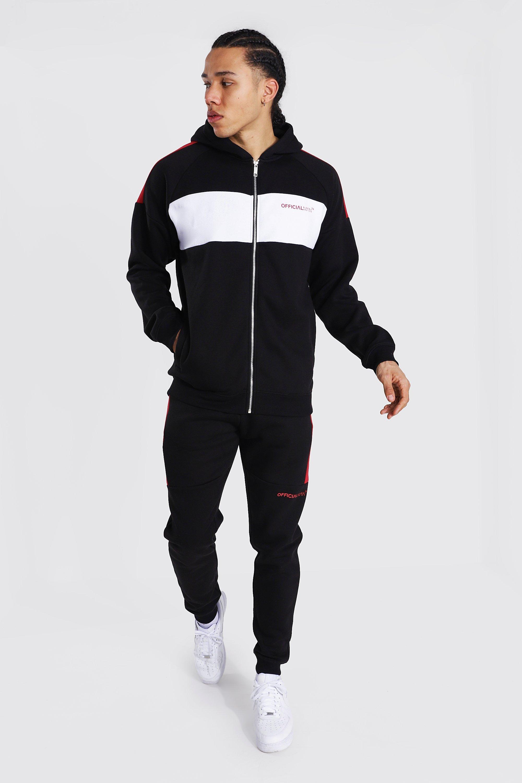 mens black tall man colour block zip hooded tracksuit, black