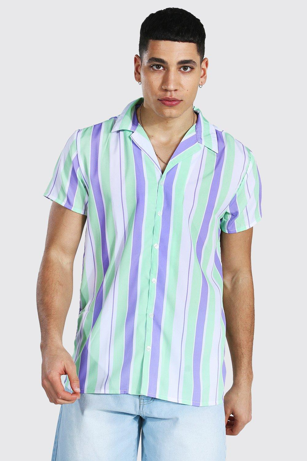 1960s Mens Shirts | 60s Mod Shirts, Hippie Shirts Mens Short Sleeve Revere Stripe Shirt - Purple $18.00 AT vintagedancer.com