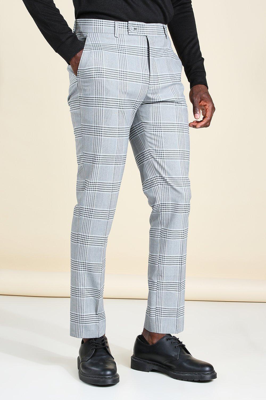 60s – 70s Mens Bell Bottom Jeans, Flares, Disco Pants Mens Skinny Windowpane Flannel Smart Pants - Blue $24.00 AT vintagedancer.com