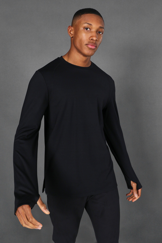 mens black man active yoga long sleeve top, black