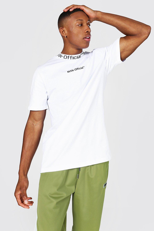 mens white man official jacquard neck t-shirt, white