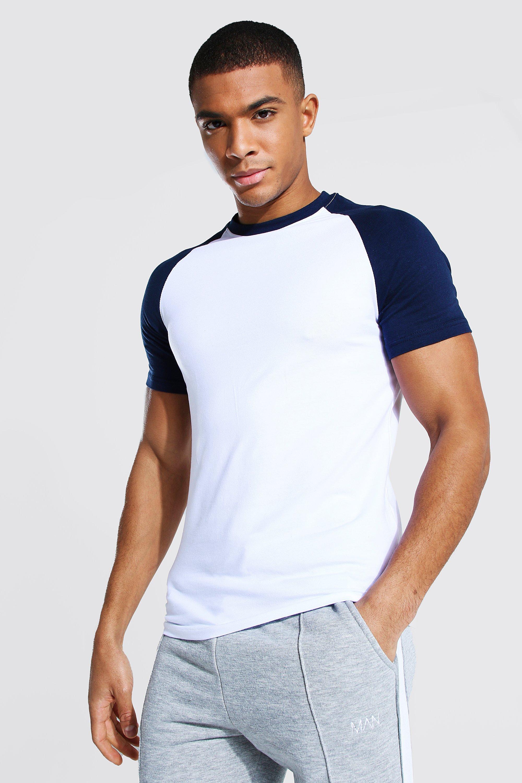 1970s Men's Clothes, Fashion, Outfits Mens Muscle Fit Contrast Raglan T-shirt - Navy $6.00 AT vintagedancer.com