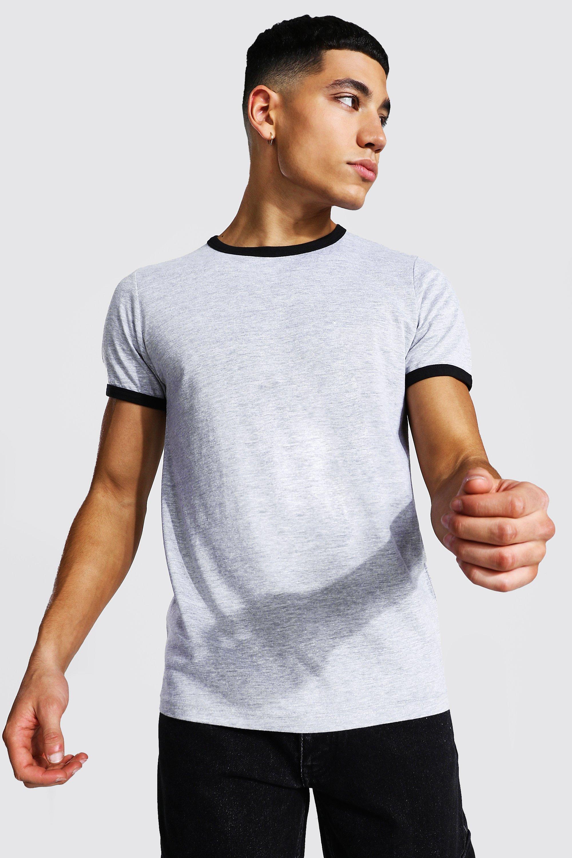 Easy 1940s Men's Fashion Guide Mens Slim Fit Crew Neck Ringer T-Shirt - Grey $6.00 AT vintagedancer.com