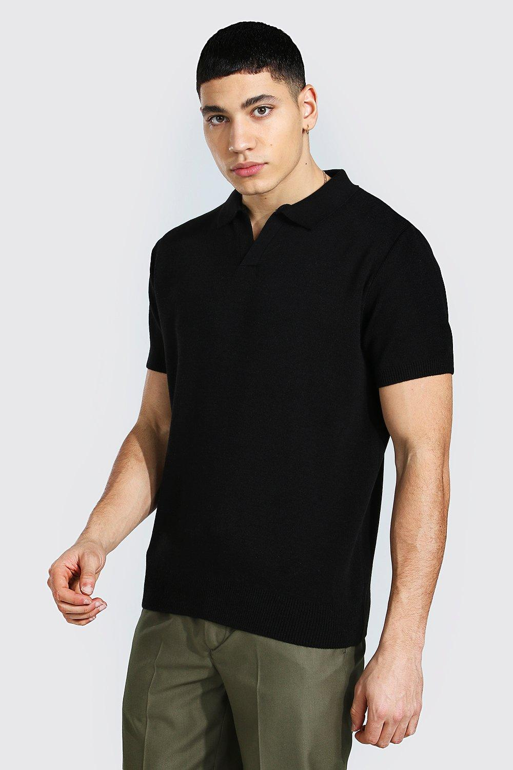 1940s Men's Shirts, Sweaters, Vests Mens Short Sleeve Revere Collar Knitted Polo - Black $10.80 AT vintagedancer.com