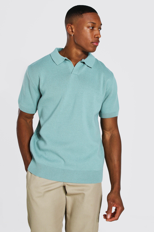 1930s Mens Shirts | Dress Shirts, Polo Shirts, Work Shirts Mens Short Sleeve Revere Collar Knitted Polo - Green $8.40 AT vintagedancer.com