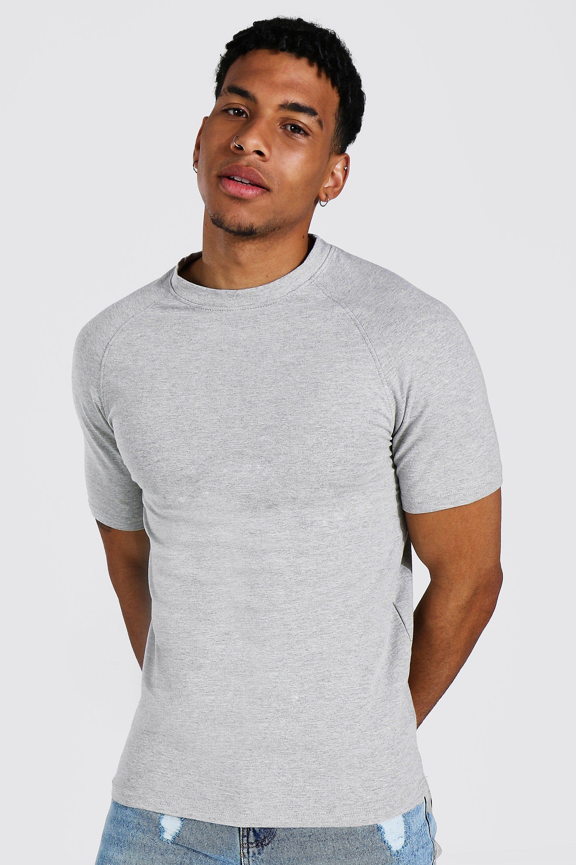 1950s Men's Clothing Mens Muscle Fit Raglan T-shirt - Grey $6.00 AT vintagedancer.com