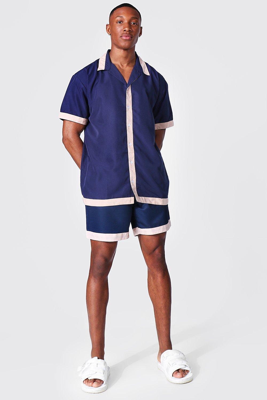 1950s Men's Clothing Mens Oversized Revere Tape Shirt And Swim - Navy $33.00 AT vintagedancer.com