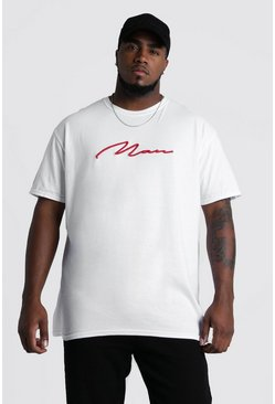 Mens White Big and Tall 3D MAN Script T-Shirt