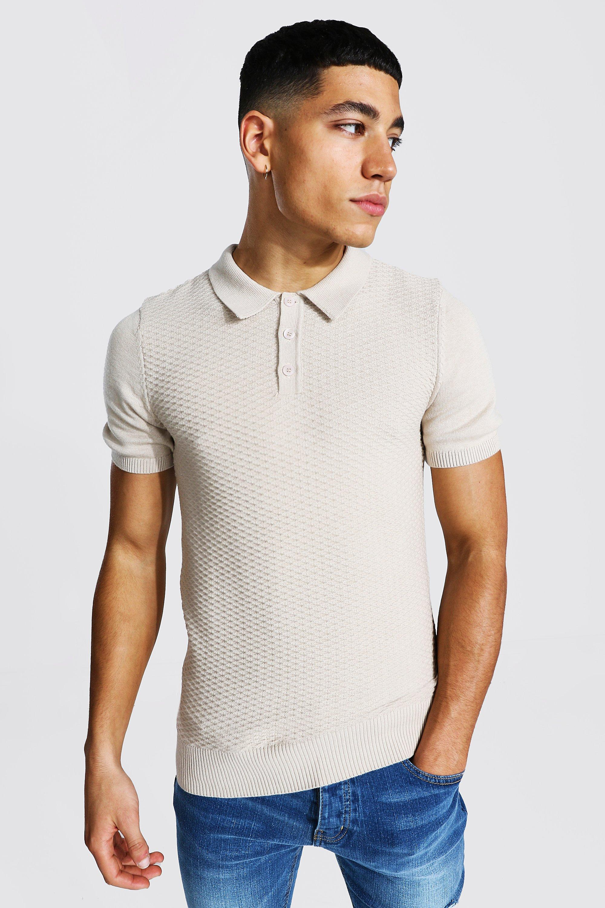 1930s Men's Fashion Guide- What Did Men Wear? Mens Short Sleeve Muscle Fit Textured Knitted Polo - Beige $19.20 AT vintagedancer.com