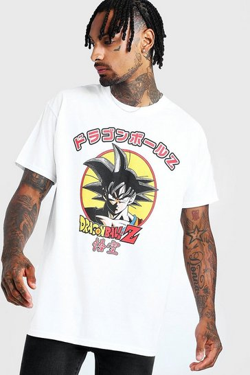 Mens White Oversized Dragon Ball Z License T-Shirt