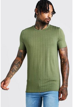 Mens Olive Muscle Fit Rib T-Shirt