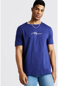 Mens Navy MAN Signature Slub T-Shirt