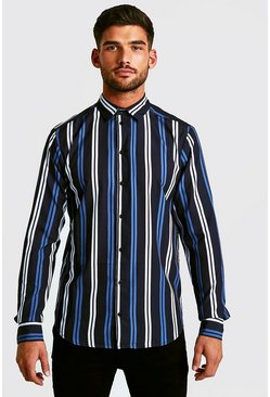 Mens Black Long Sleeve Stripe Shirt