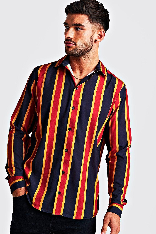 1960s – 70s Mens Shirts- Disco Shirts, Hippie Shirts Mens Navy  Gold Long Sleeve Stripe Shirt $10.00 AT vintagedancer.com