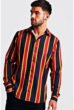 Mens Navy & Gold Long Sleeve Stripe Shirt