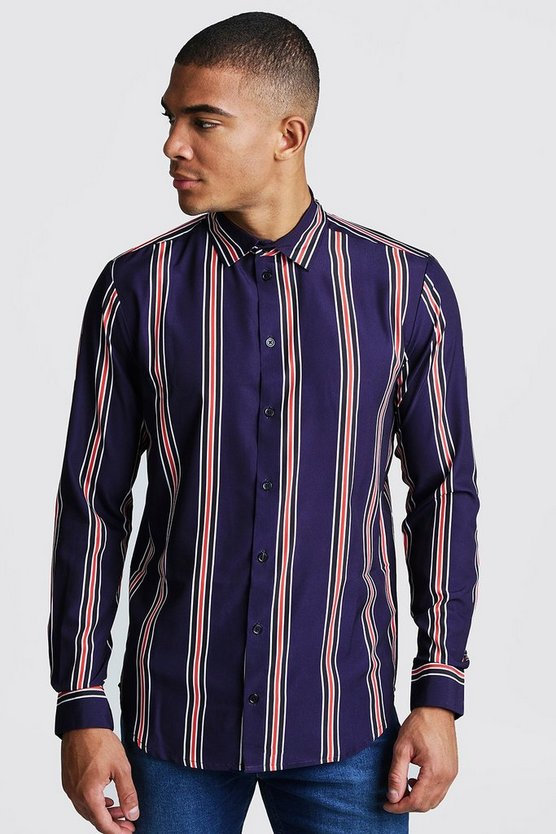 Mens Navy & Red Long Sleeve Stripe Shirt