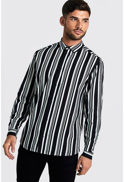 Mens Black & White Long Sleeve Stripe Shirt