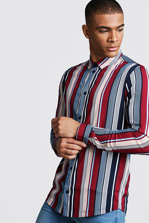 1960s – 70s Mens Shirts- Disco Shirts, Hippie Shirts Mens Retro Stripe Long Sleeve Stripe Shirt - Red $12.00 AT vintagedancer.com