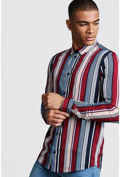 Mens Burgundy Retro Stripe Long Sleeve Stripe Shirt