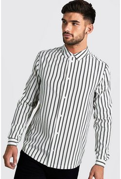 Mens White Monochrome Long Sleeve Stripe Shirt
