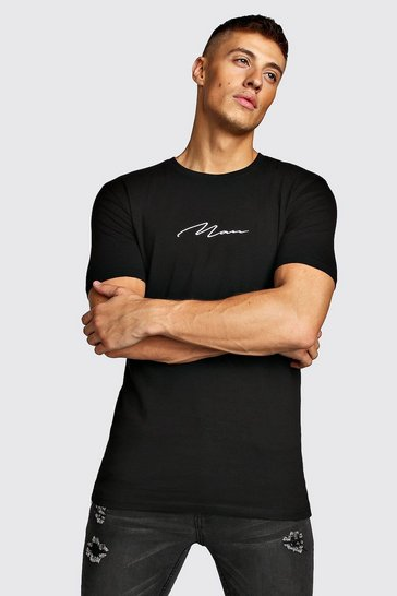 Mens Black Muscle Fit MAN Signature T-Shirt