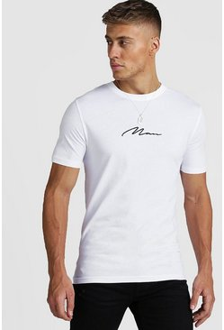 Mens White Muscle Fit MAN Signature T-Shirt