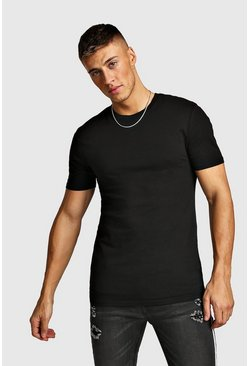 Mens Black Muscle Fit Crew Neck T-Shirt