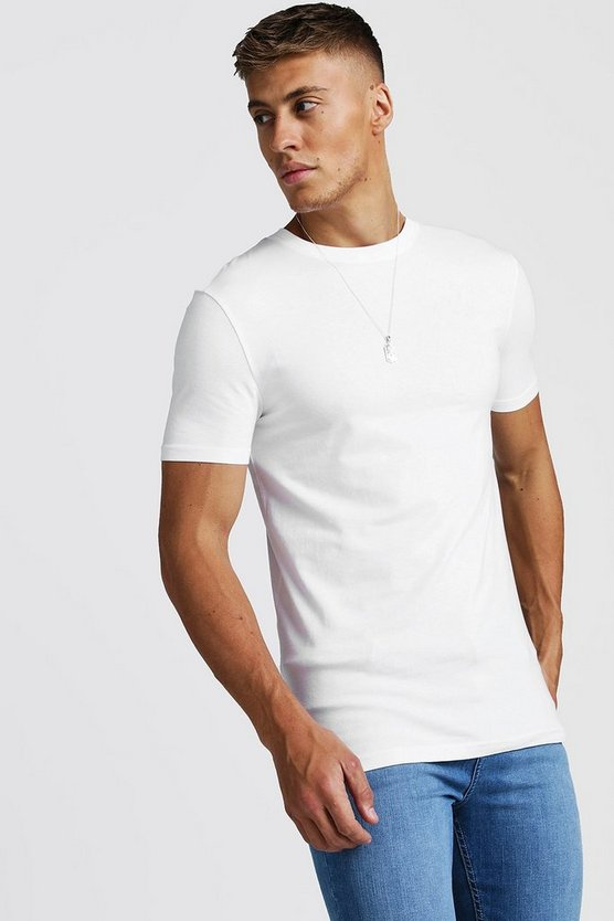 Mens White Muscle Fit Crew Neck T-Shirt