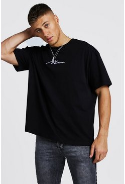 Mens Black Oversized MAN Signature T-Shirt