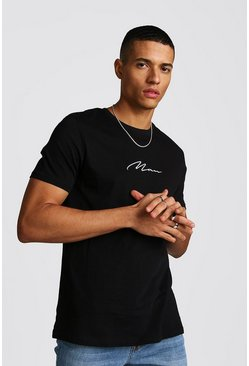 Mens Black MAN Signature Embroidered T-Shirt