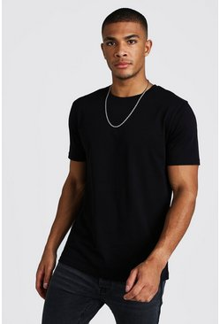 Mens Black Basic Crew Neck T-Shirt