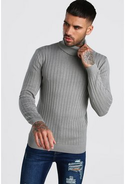 Mens Grey Regular Long Sleeve Ribbed Knitted Roll Neck Jumper