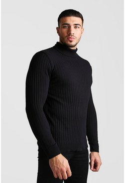 Mens Black Regular Long Sleeve Ribbed Knitted Roll Neck Jumper