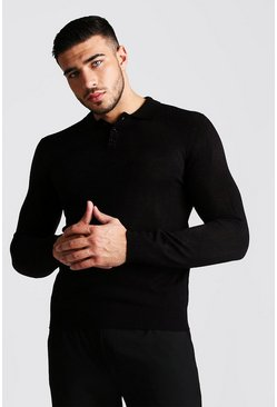 Mens Black Regular Fit Long Sleeve Knitted Polo