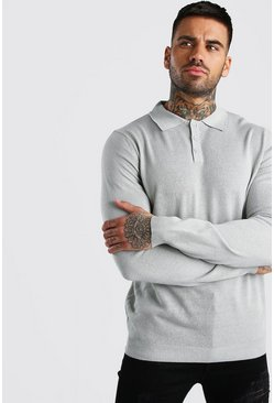 Mens Grey Regular Fit Long Sleeve Knitted Polo