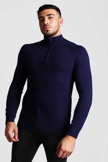 Navy Regular Fit Half Zip Turtle Neck Knitted Jumper