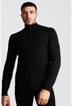 Mens Black Regular Fit Half Zip Turtle Neck Knitted Jumper